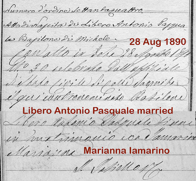 Michele's father's birth record includes his marriage to Michele's mother.
