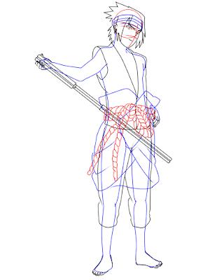 menggambar sasuke uchiha black costume langkah 17