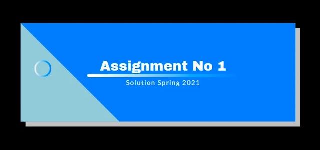 CS609 Assignment 1 Solution Spring 2021