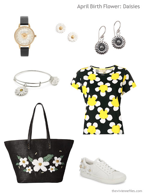 clothing and accessories with daisies and a daisy motif
