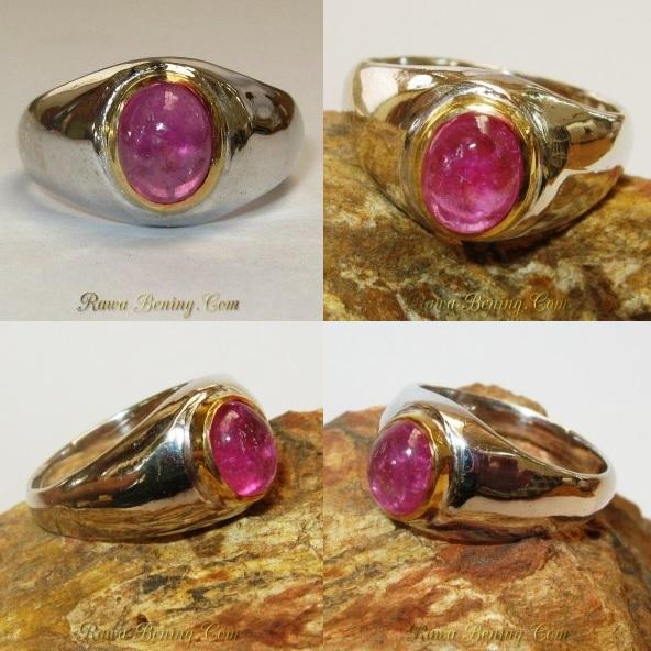 Cincin Silver Vintage Batu Permata Ruby
