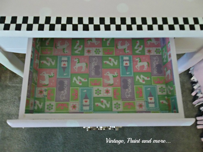 Vintage, Paint and more... mod podge drawer, drawer lined with wrapping paper, decorative drawer liner