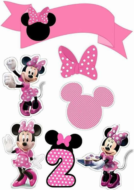 Pink Minnie with Number 2: Free Printable Cake Toppers
