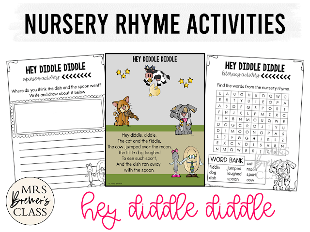 Hey Diddle Diddle activities unit with  literacy and math Common Core aligned companion activities for Nursery Rhymes in Kindergarten