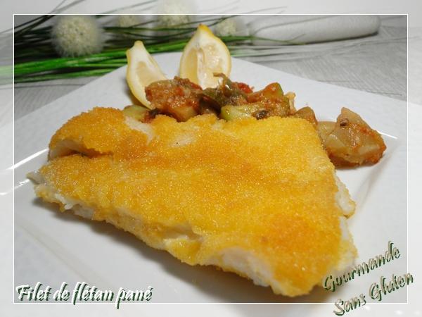 Filet de poisson pané, panure sans gluten