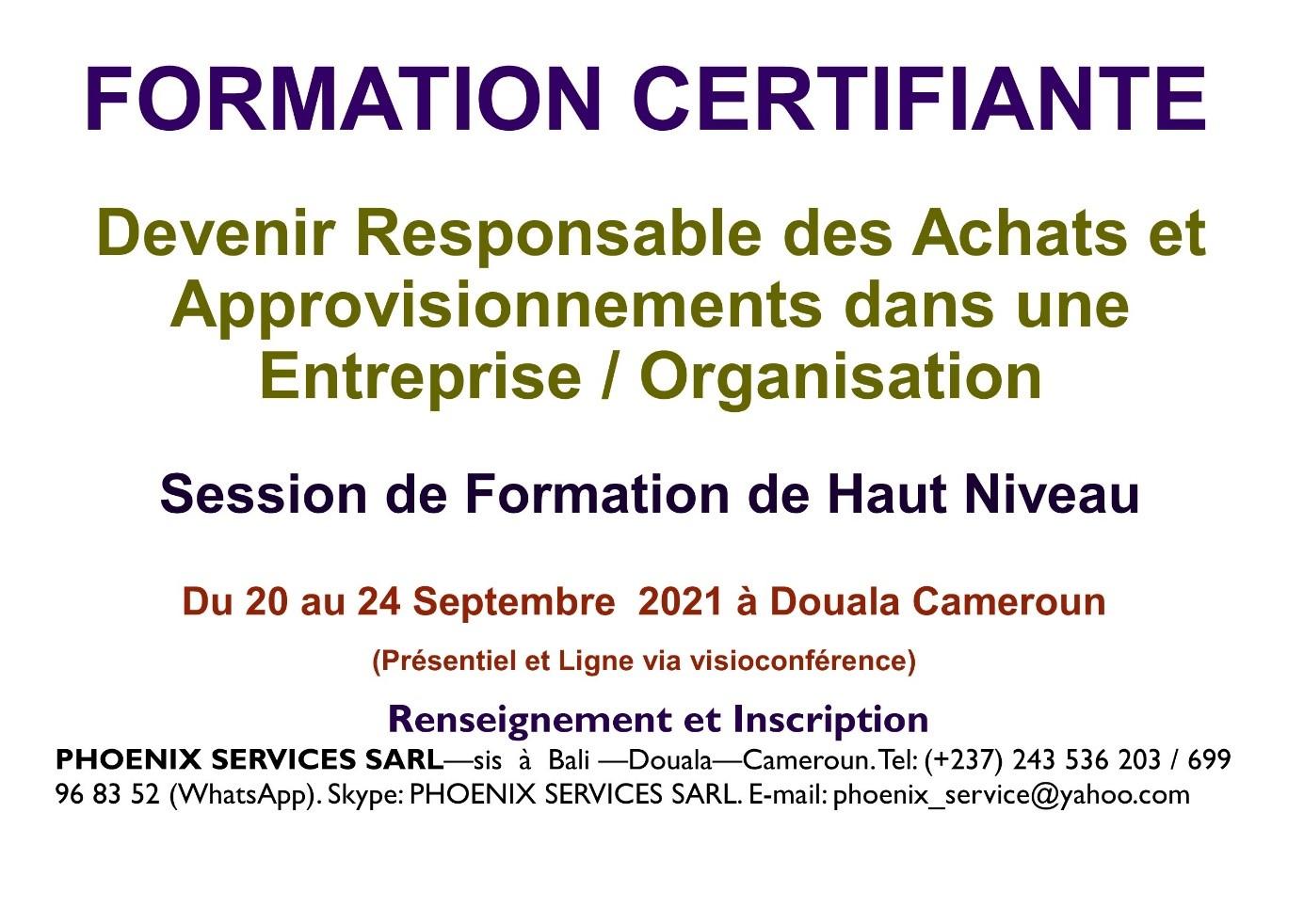 Formation Certifiante: Devenir Responsable des Achats et Approvisionnements dans une Entreprise / Organisation