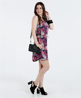 Moda Marisa Vestido Feminino Estampa Folha Cinto