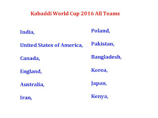 Kabaddi World Cup 2016 All Teams,Kabaddi World Cup 2016 teams & players,Kabaddi World Cup 2016 fixture,Kabaddi World Cup 2016 schedule,International Kabaddi Federation world cup,world cup kabaddi 2016,kabaddi time table,players,teams,countries,all teams,all team and players,India,United States of America,Canada,England,Australia,Iran,Poland,Pakistan,Bangladesh,Korea,Japan,Kenya,all country of kabaddi 2016,IKF cup 2016,participant