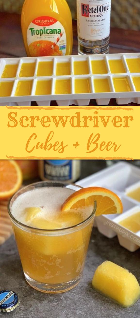 Screwdriver Cubes #drink #orange #cocktail #party #vodka