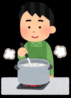 食材を茹でている人のイラスト(男性・お玉)