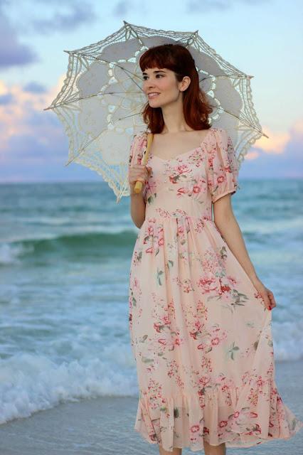 Enchanting Peony Floral Chiffon Maxi Pink Dress from Chic Wish