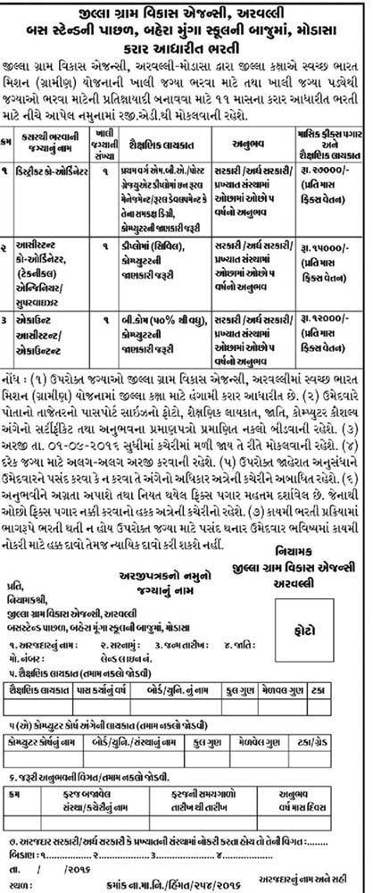 Jilla Gram Vikas Agency Aravalli Modasa Recruitment 2016 for Various Posts