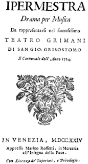 The cover page of Giacomelli's first opera, Ipermestra