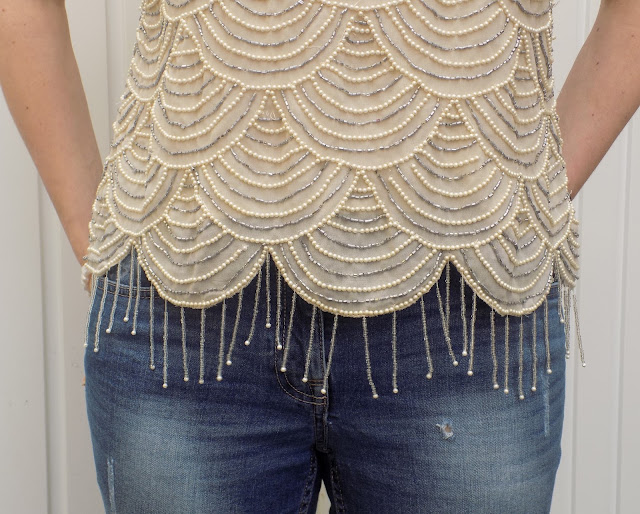 Beaded scalloped tassel top with boyfriend jeans and colourblock heels