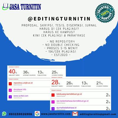 Jasa Cek Parafrase Plagiasi Turnitin Student Unlimited Non Repository