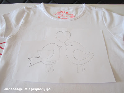 mis nancys, mis peques y yo, tutorial aplique en camiseta, birds in love, situar plantilla