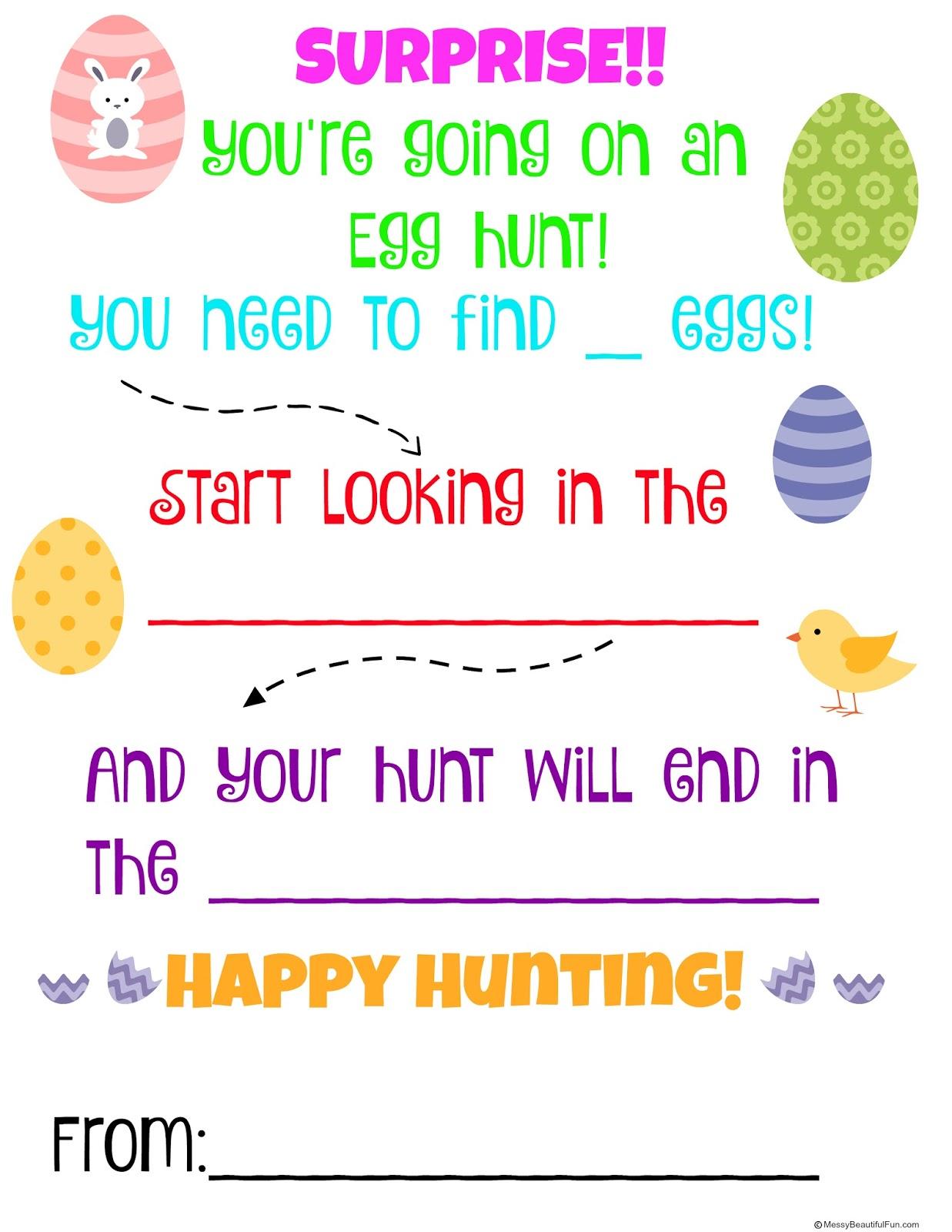 Messy Beautiful Fun Free Easter Egg Hunt Printable