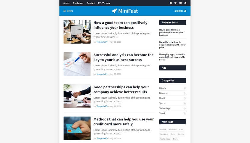 MiniFast v1.0 - A Professional Responsive Blogger Template