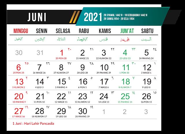 Preview Desain Template Kalender 2021 Bulan Juni