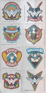 A sheet of 8 Wonder Woman Rub On Transfers