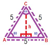 calculando a área do triângulo equilátero