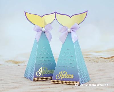 festa sereia luxo caixa cauda personalizada decoracao