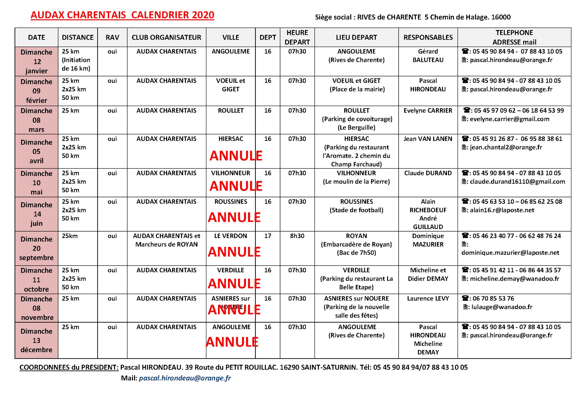 Calendrier Audax 2021 Calendriers