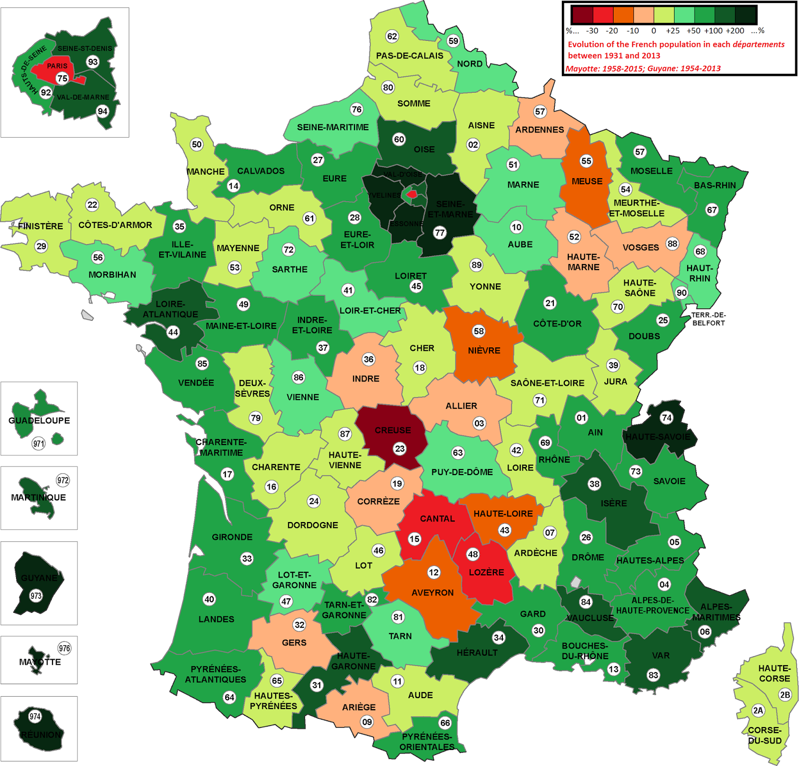 Evolution of the French population in each departement (1931 - 2013)