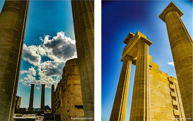 Templo de Atena, na Acrópole de Lindos, Grécia