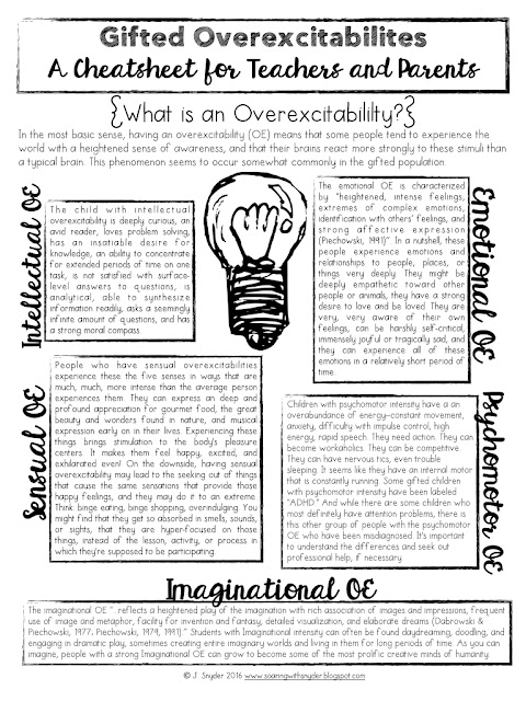 Gifted Overexcitabilities Cheat Sheet Freebie