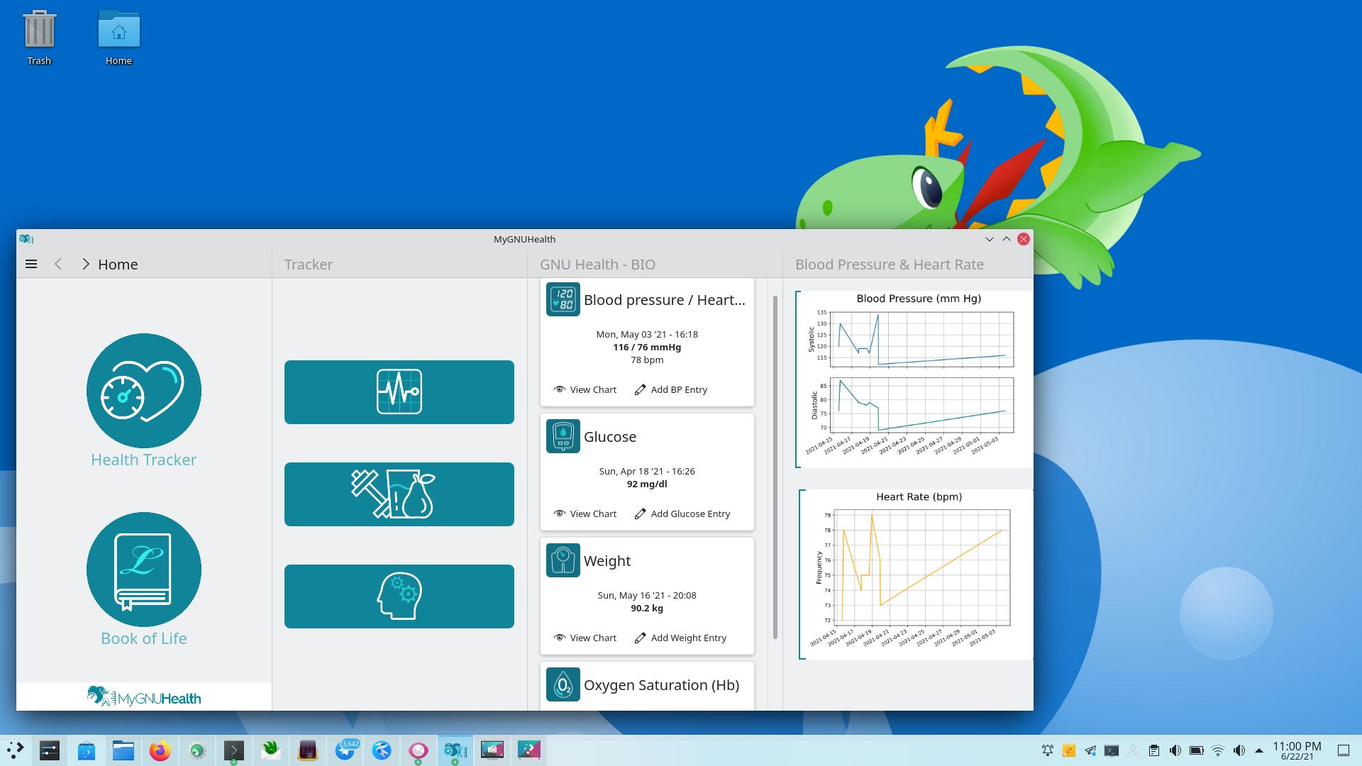 Το MyGNUHealth σε υπολογιστή με KDE Plasma και Arch Linux