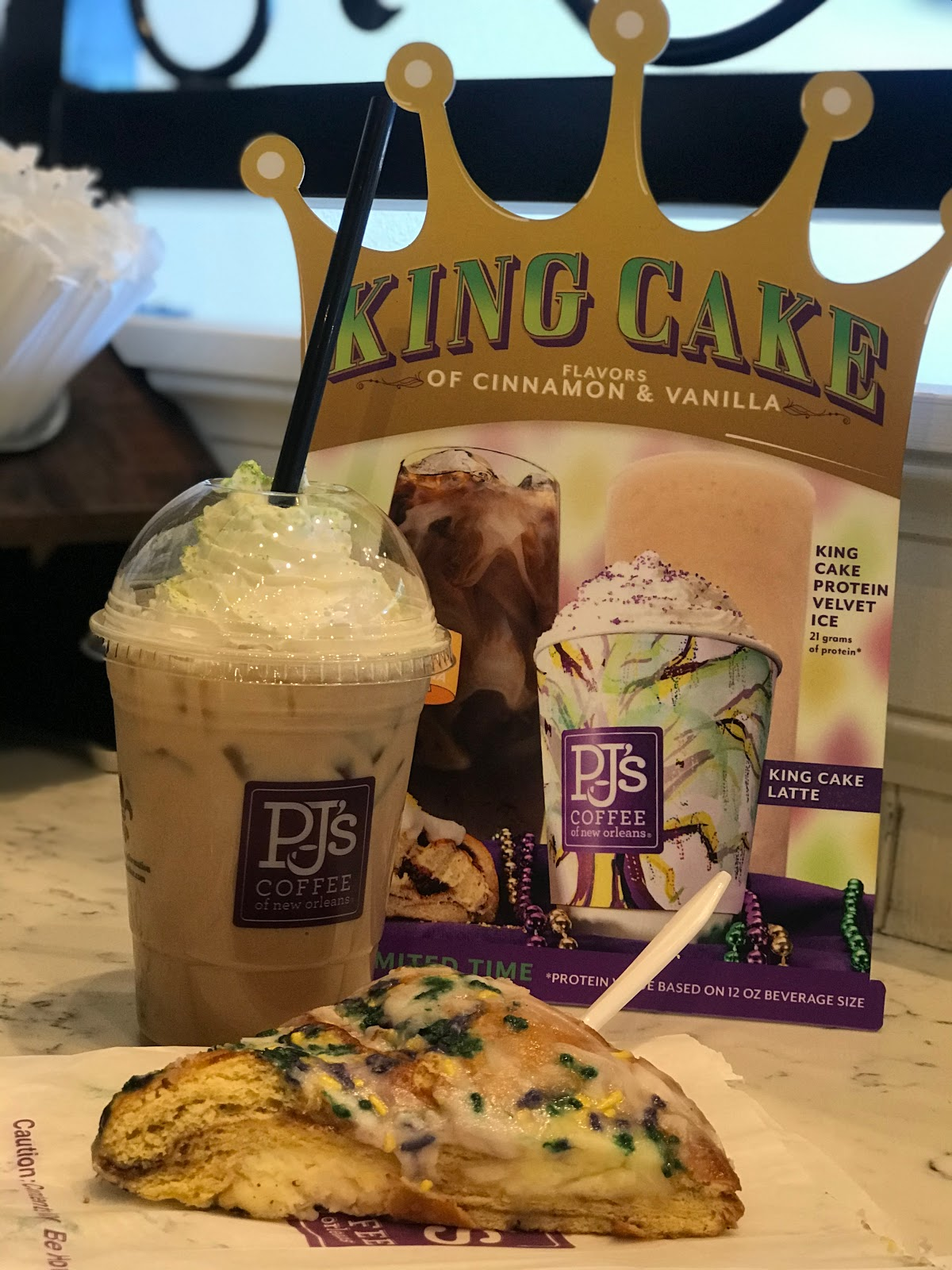 PJ's king cake and iced coffee visit while on road trip through Bossier City Louisiana