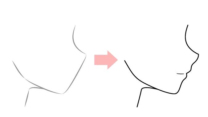 Menggambar tampilan samping mulut anime