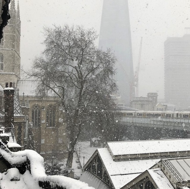 Borough Market London Snow