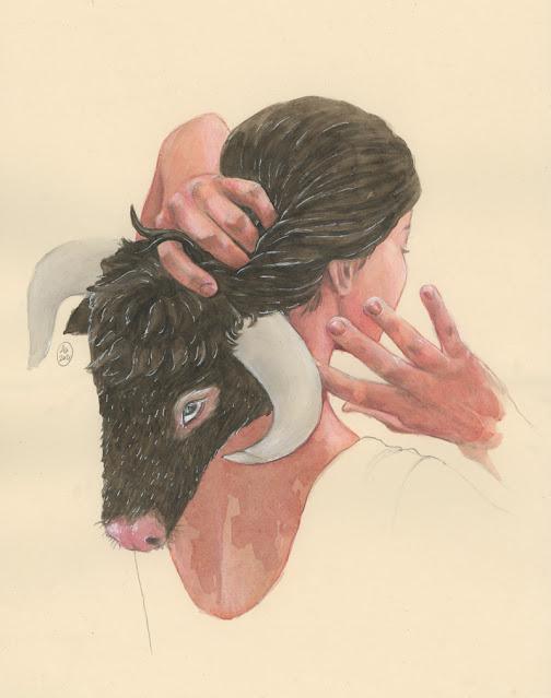 alexandra burda, bull, shadow, illustration, jung