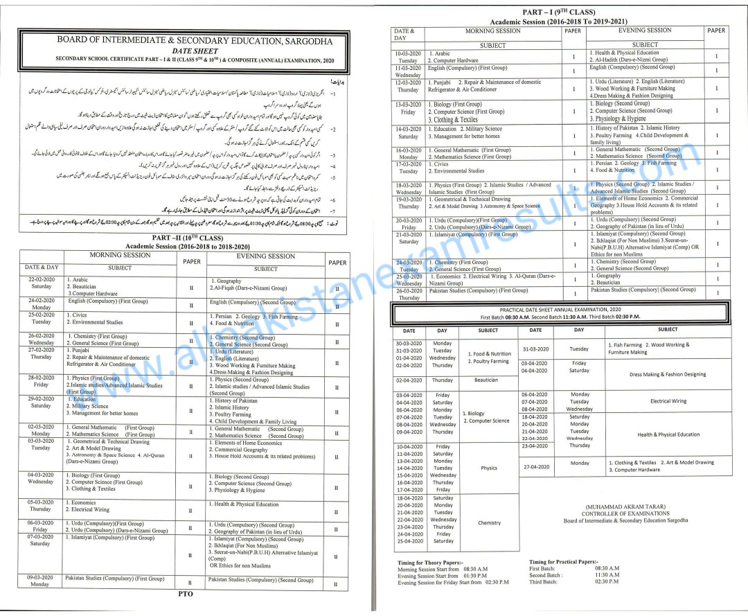 BISE Sargodha Matric Date Sheet 2020