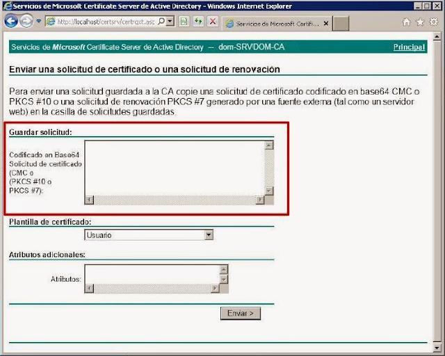 Codificado en Base64 Solicitud de certificado (CMC p (PKCS #10 o PKCS #7):