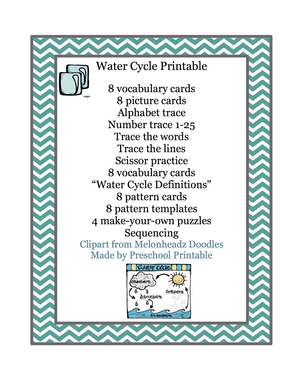 Water Cycle Printable Preschool Printables