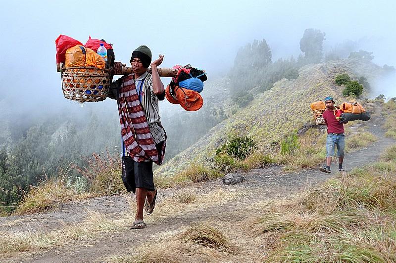Our porter at Plawangan Sembalun an altitude 2639 meter of Mount Rinjani