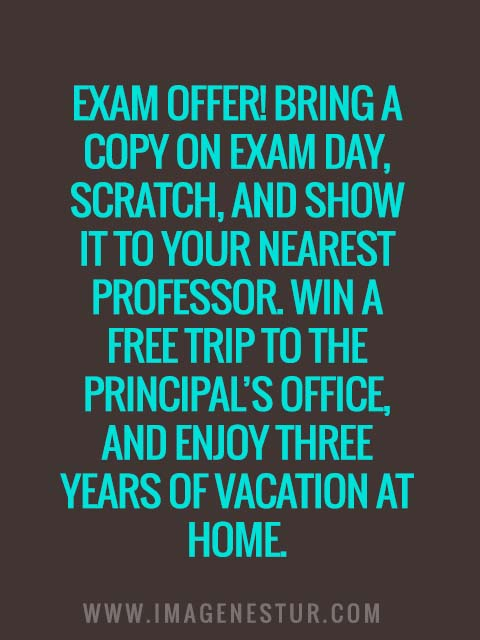 Exam offer! Bring a copy on exam day, scratch, and show it to your nearest professor. Win a free trip to the principal's office, and enjoy three years of vacation at home.