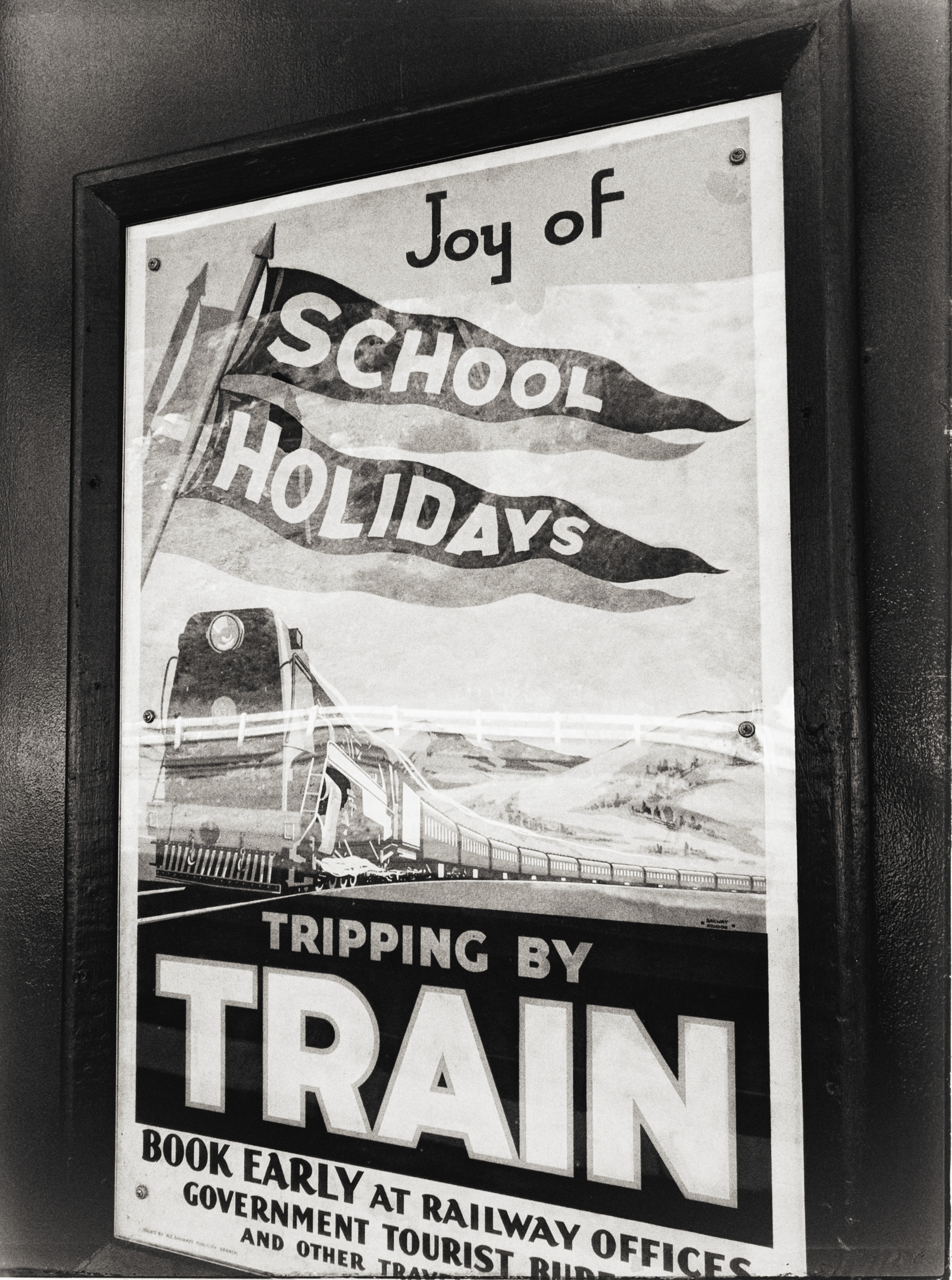 School holiday train poster