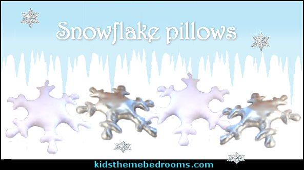Snowflake pillows   penguin bedrooms - polar bear bedrooms - arctic theme bedrooms - winter wonderland theme bedrooms - snow theme decorating ideas - penguin duvet covers - penguin bedding - Snow queen - winter wonderland party ideas - Alaska - White Christmas