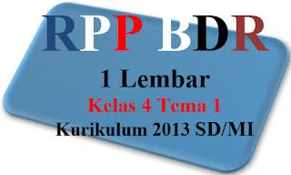 RPP Daring 1 Halaman  K-2013 Kelas 4 Tema 1 Edisi Terbaru