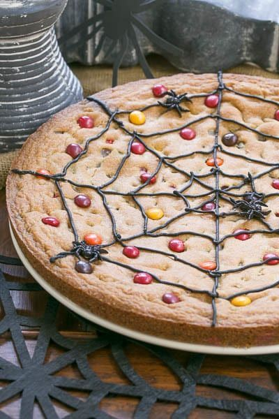 Easy to make spiderweb cookie cake is a fun Halloween treat!