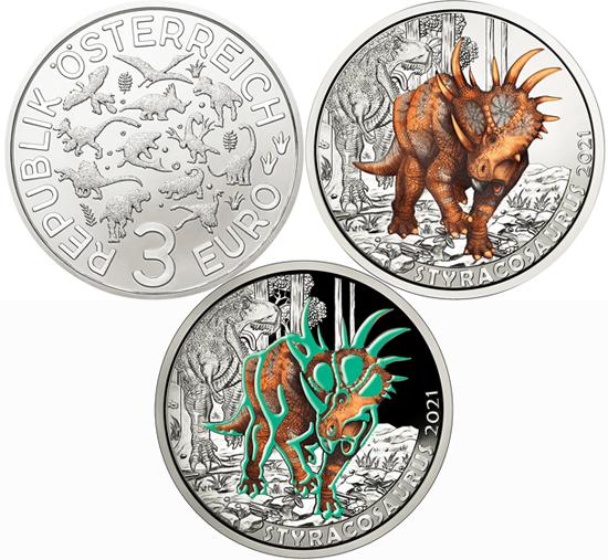 Austria 3 euro 2021 - Styracosaurus Albertensis