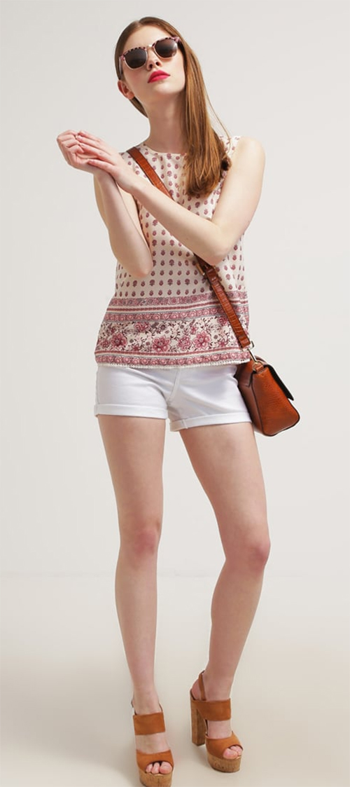 Short femme en jean blanc Noisy May