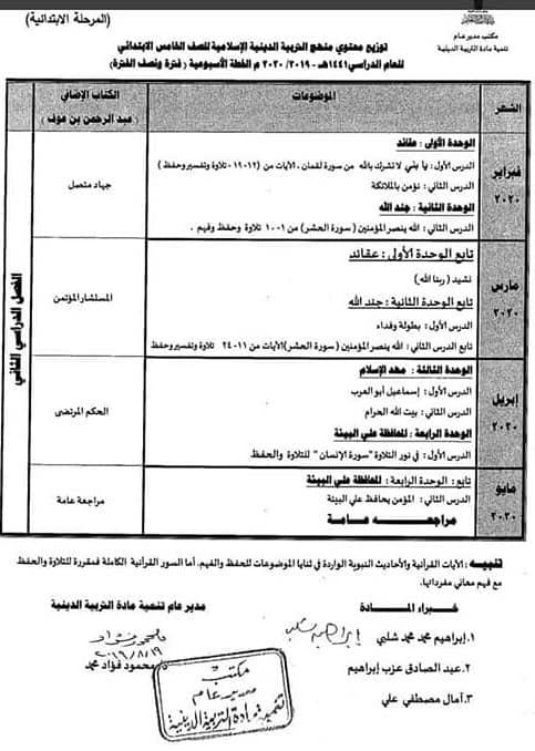 توزيع مناهج التربية الدينية الاسلامية لكل الصفوف و المراحل (ابتدائي - اعدادي - ثانوي) للعام الدراسي 2019 / 2020 8