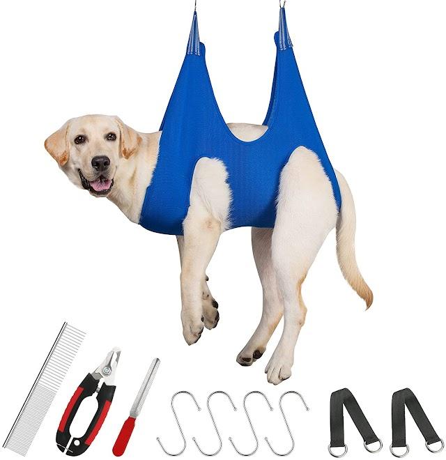 Pet grooming hammock harness