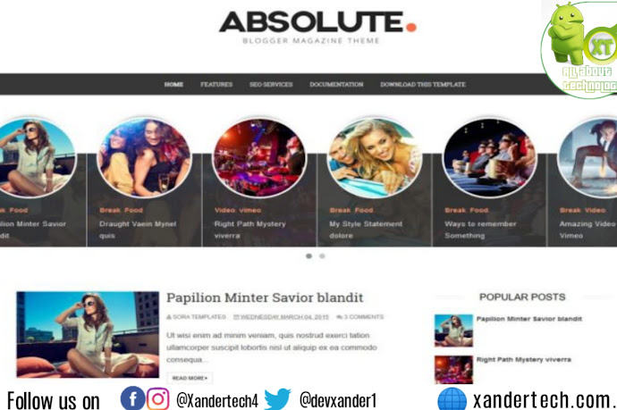 Download Absolute Blogger premium Template Free 2021
