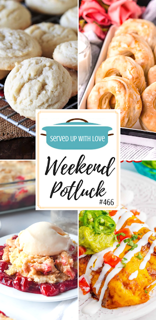 Weekend Potluck featured recipes include Cheery Cheesecake Dump Cake, Amish Sugar Cookies, Air Fryer Donuts, Chicken Enchiladas, and so much more.